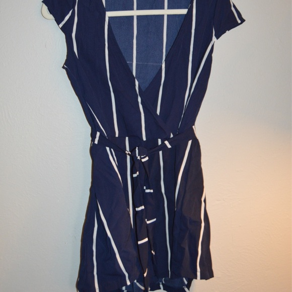 Adorable navy blue striped romper